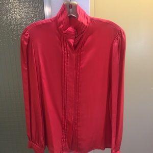 Vintage Red Silk Blouse